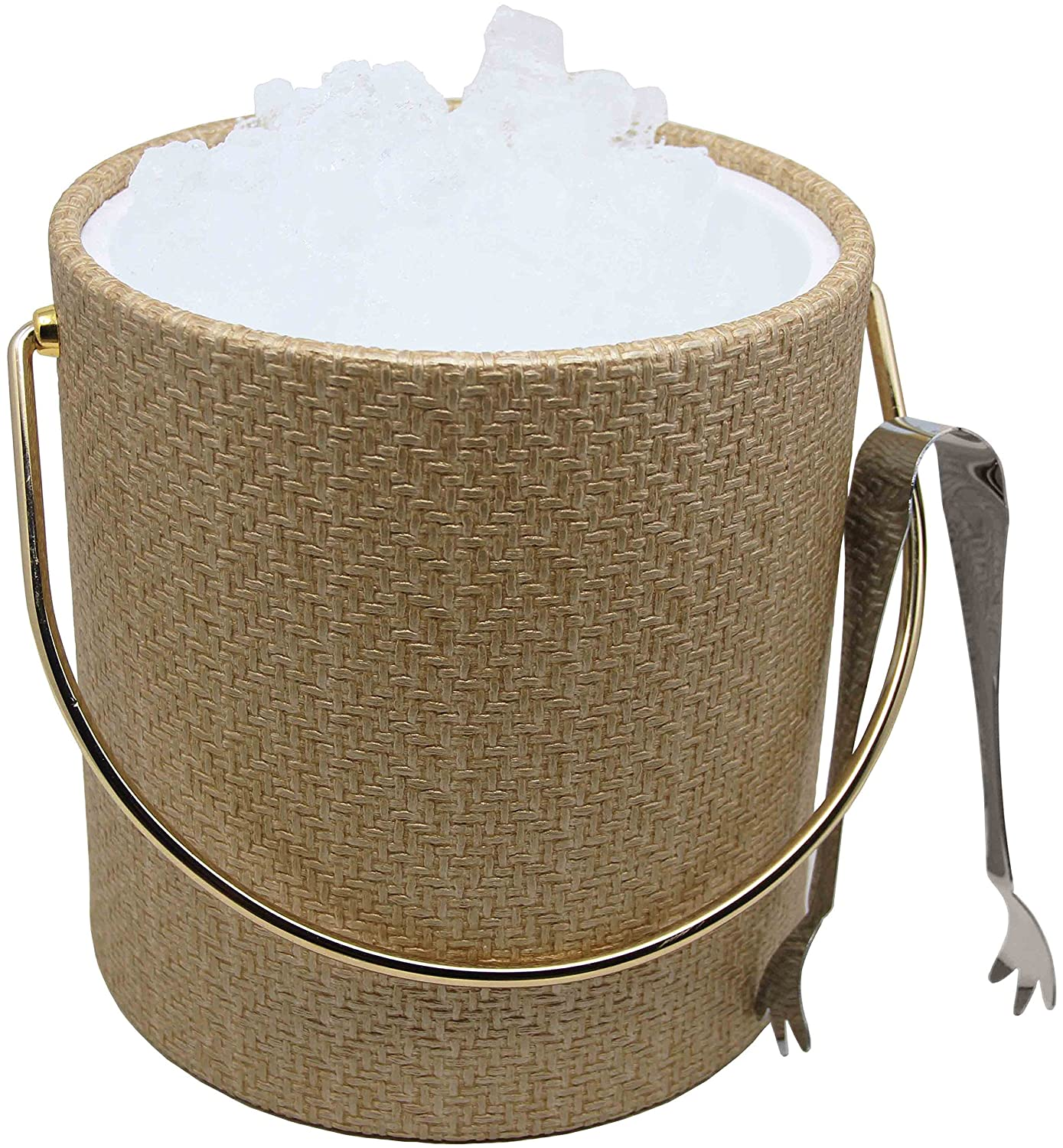 Beige Metallic Wicker Hand Made In USA Walnut Grain With Rope Handle Double Walled 3-Quart Insulated Ice Bucket With Bonus Ice Tongs