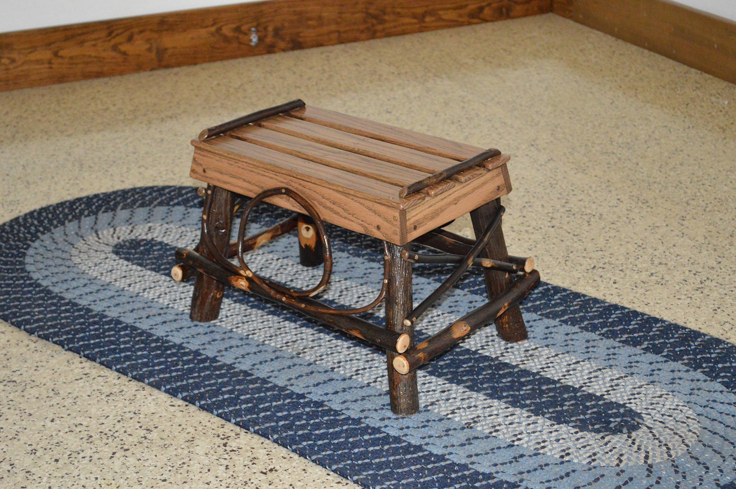 A & L Furniture 2112 Hickory Foot Stool, Walnut Finish