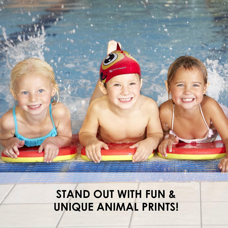 4 Fun Designs for Boys /& Girls Swimtastic/® Kids Animal Print Swim Cap