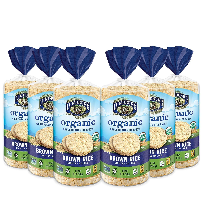 Lundberg Organic Whole Grain Rice Cakes, Brown Rice, Lightly Salted, Gluten-Free, Vegan, USDA Certified Organic, Non-GMO Verified, Kosher, 8.5oz (6 Count)