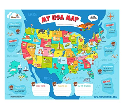 FlyingKids USA map Poster for Kids. Educational, Interactive, Personalized,  Laminated Wall map. The United States map That Brings Geography Alive in a  ...