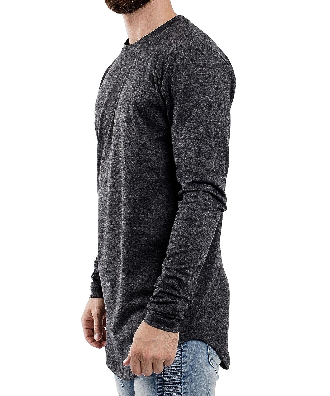 726de8e56cbd ... Blackskies Round Long Sleeve Sleeve Sleeve Basic Men's Longline T-Shirt  Oversized Curved Hem ...