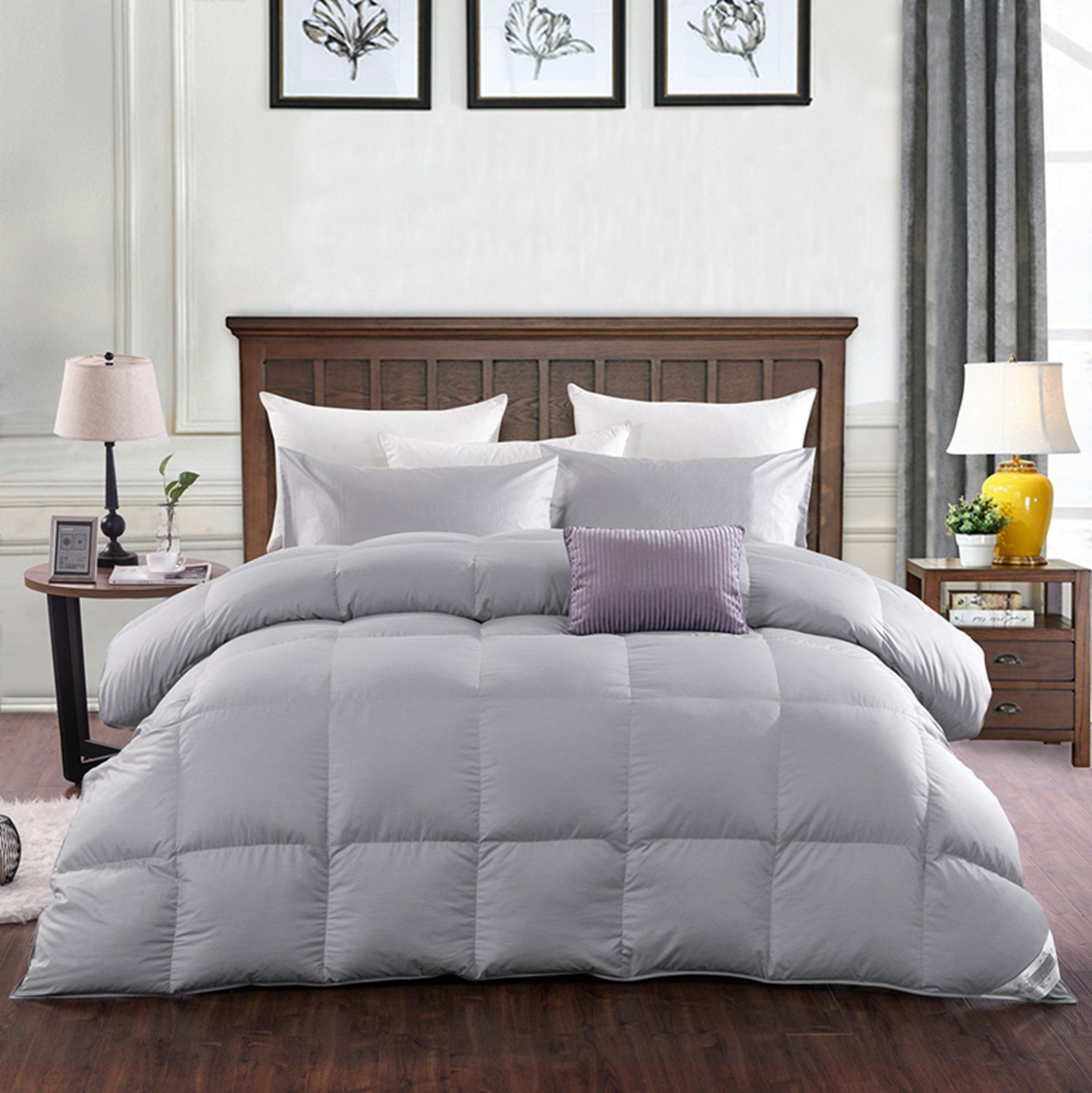 ROSE Light Weight 85/15 White Goose Feather Down Comforter Duvet Quilt,Queen Size,Light Grey