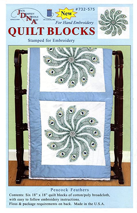 6-Pack 18-Inch by 18-Inch Peacock Jack Dempsey Stamped White Quilt Blocks