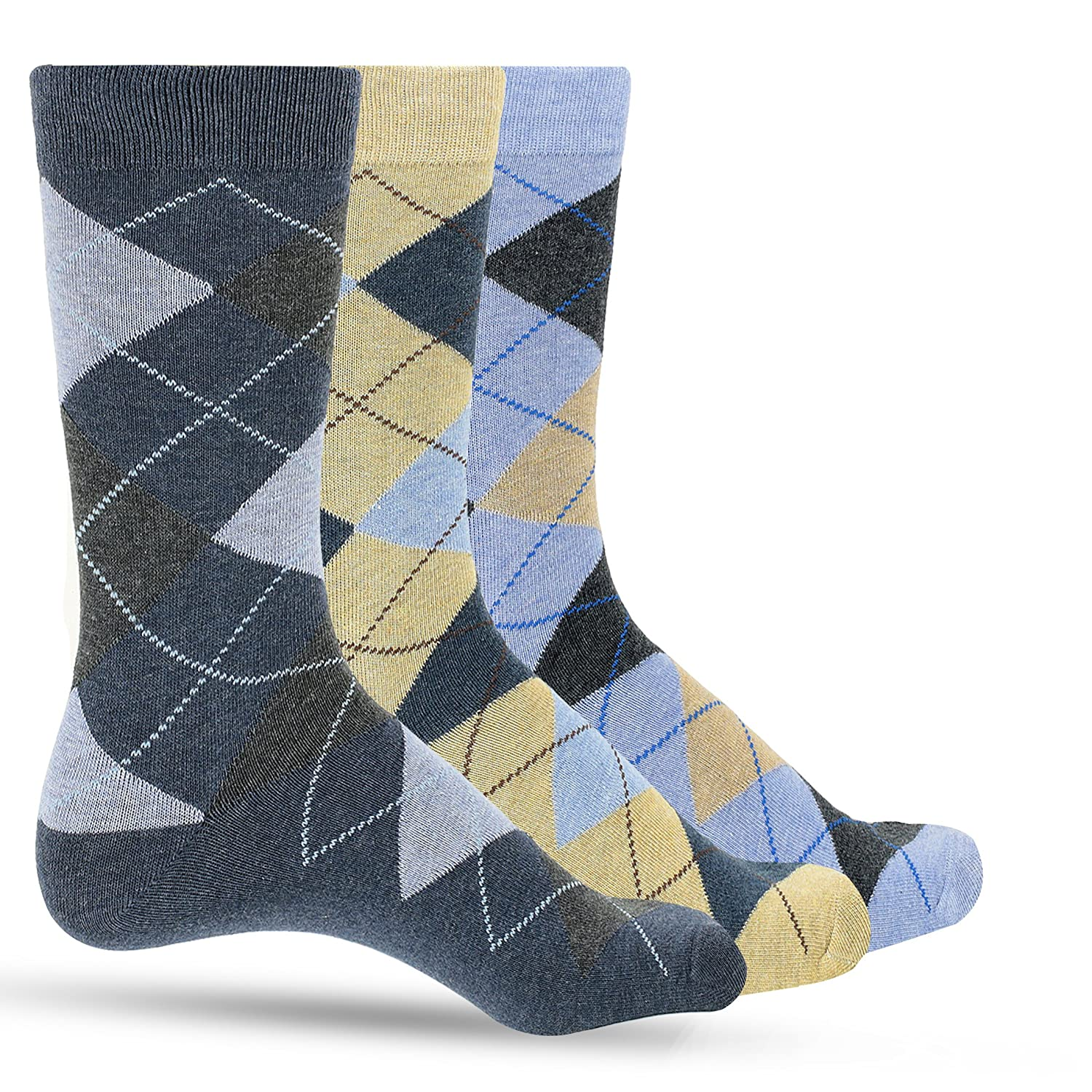 3 Pack Mens Dress Socks Premium Cotton Argyle Men's Dress Socks For Men – Colorful Fashion