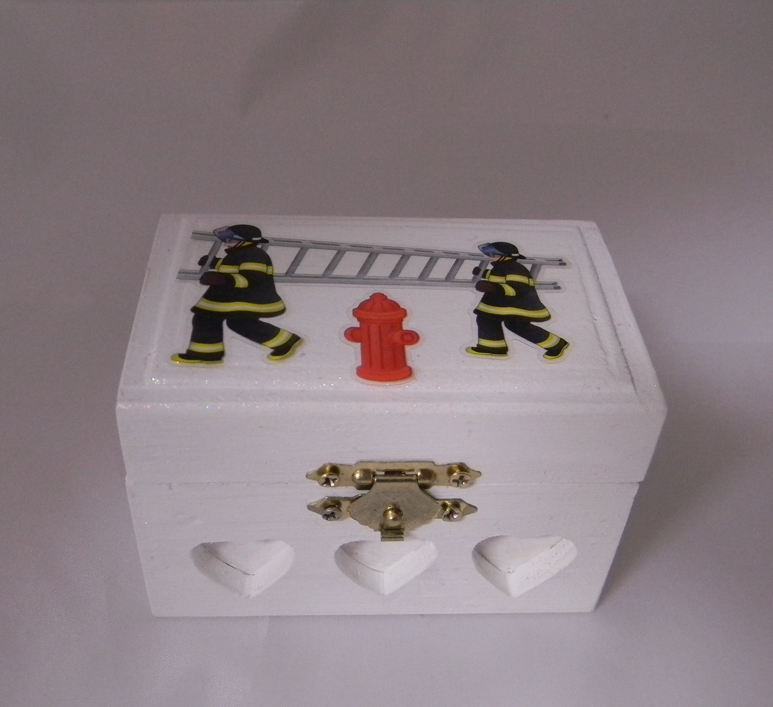 Wedding Ceremony Party Fireman Firefighter ring bearer pillow Box by Custom Design Wedding Supplies by Suzanne