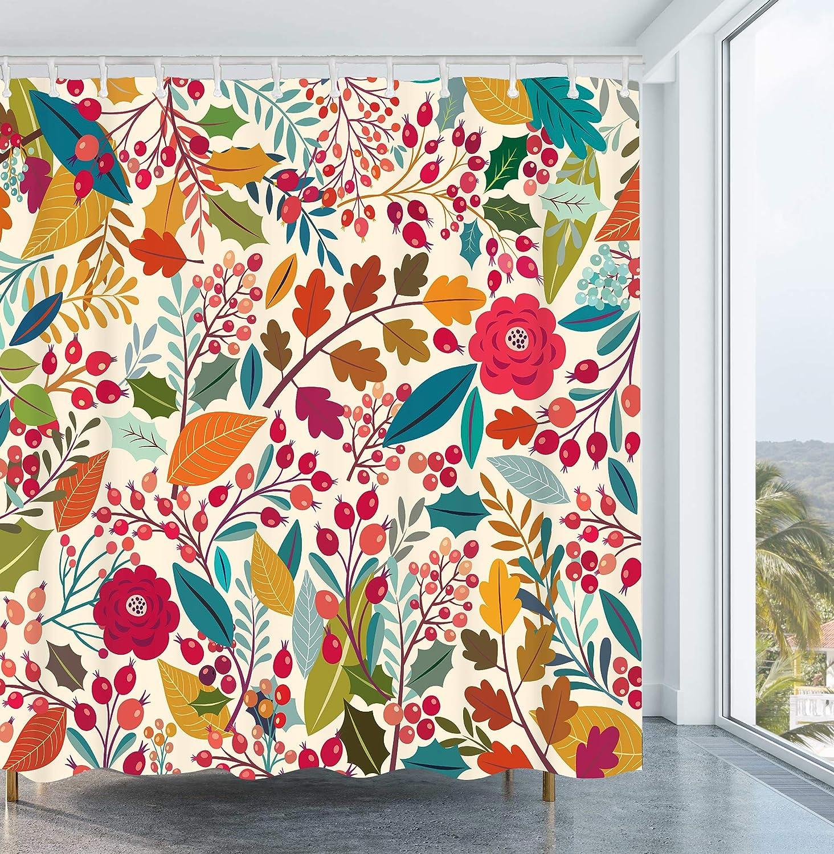 Amazon Com Get Orange Vintage Floral Shower Curtain Floral