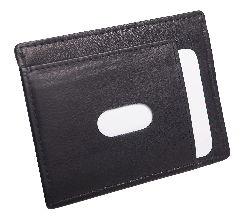 ANDERS Extra Flaches Kreditkartenetui Ausweisetui Ausweishülle Kreditkartenetui aus Hochwertigem Leder. (Schwarz) 2221