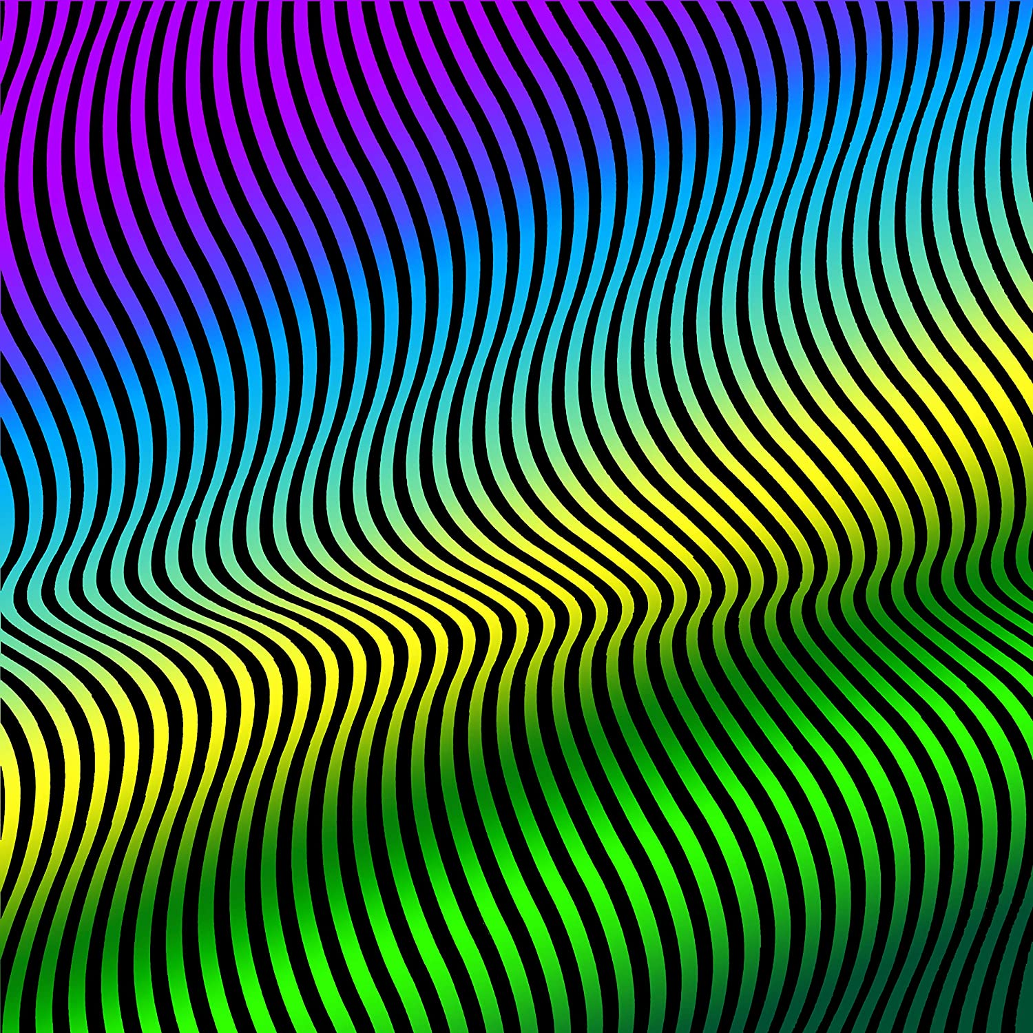 Optical Illusion :: Trippy Art :: Waves, Psychedelic Colors. Laminated Art Print