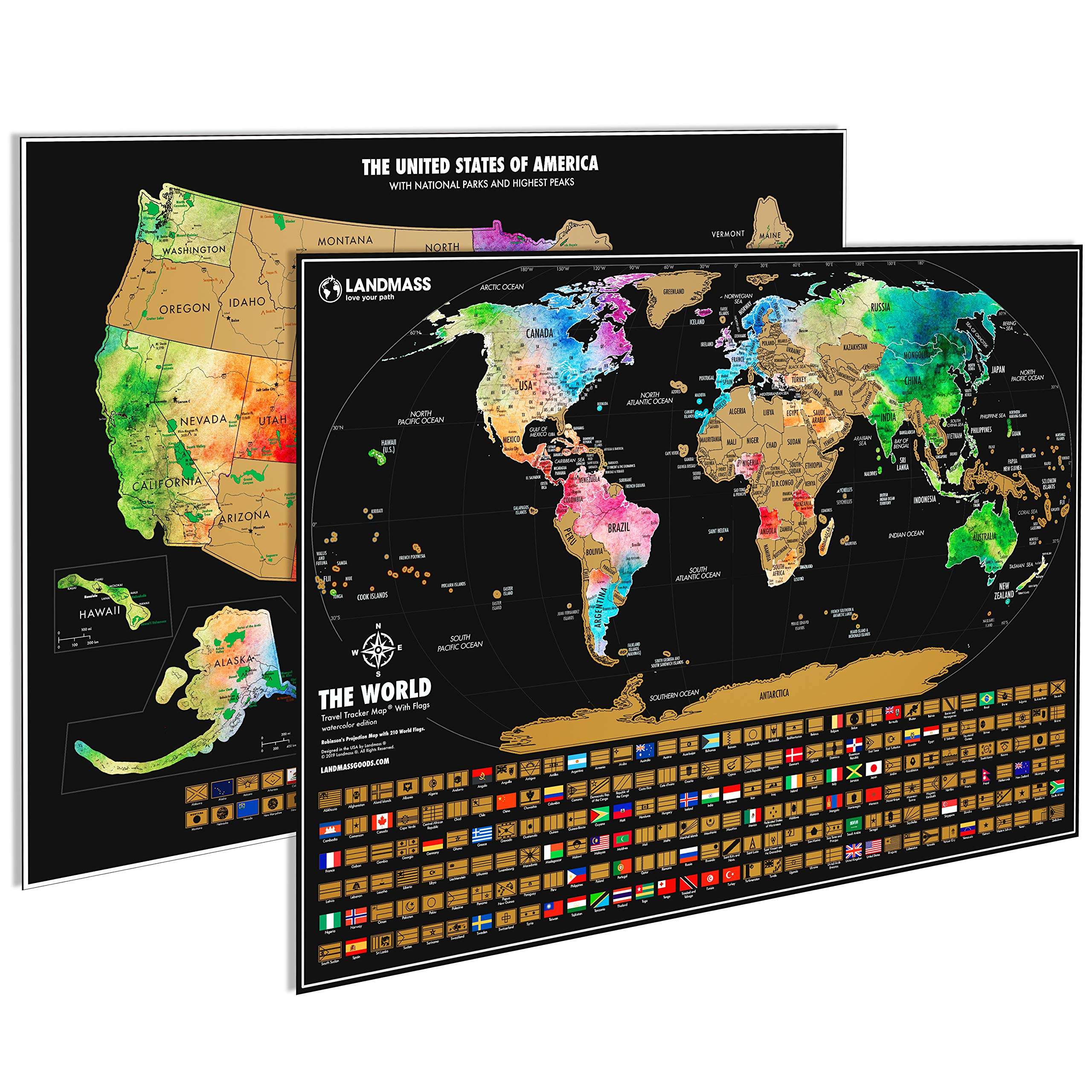 Landmass Scratch Off Map of The World Poster + Scratch Off Map of The United States - Two 24x17'' Travel Tracker Maps with Flags - Detailed Cartography - Excellent Gift for Travelers