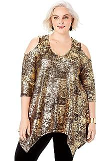 Roamans Womens Plus Size Beaded Cold-Shoulder Tunic