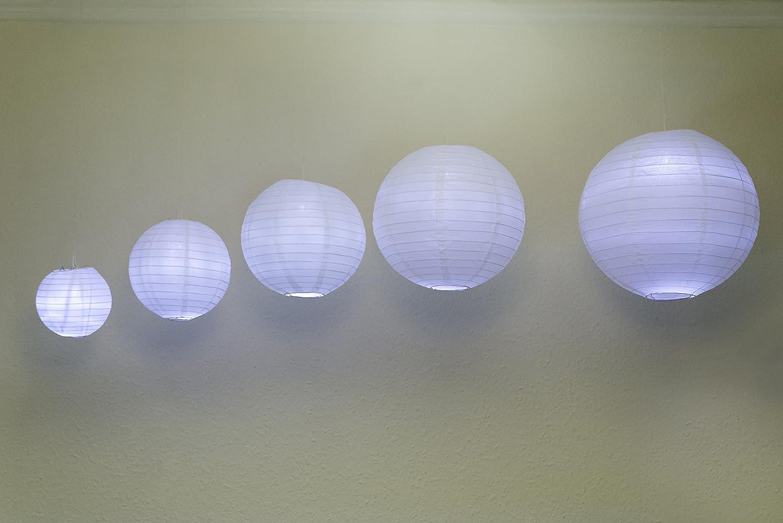 20 lanterne di carta di dimensioni diverse e 20 luci a LED bianco cinese lanterne di carta paralumi rotondo lanterne