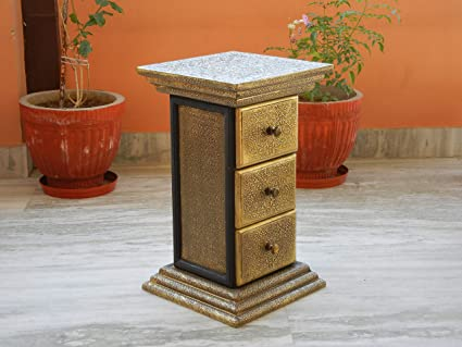 Shivay Arts Wooden & Brass Ethnic Sturdy Pillar Chest with 3 Drawers