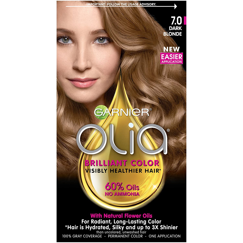 Garnier Olia Ammonia Free Permanent Hair Color, 100 Percent Gray Coverage (Packaging May Vary), 7.0 Dark Blonde, Pack of 1