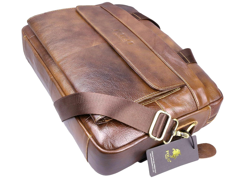 d9bb0b7f7b52 Polo Videng M278 Men S Classic Top Cow Leather Business Handbag Briefcase  Shoulder Messenger Satchel Bag For Laptop Macbook (Brown) By Videng Polo   ...