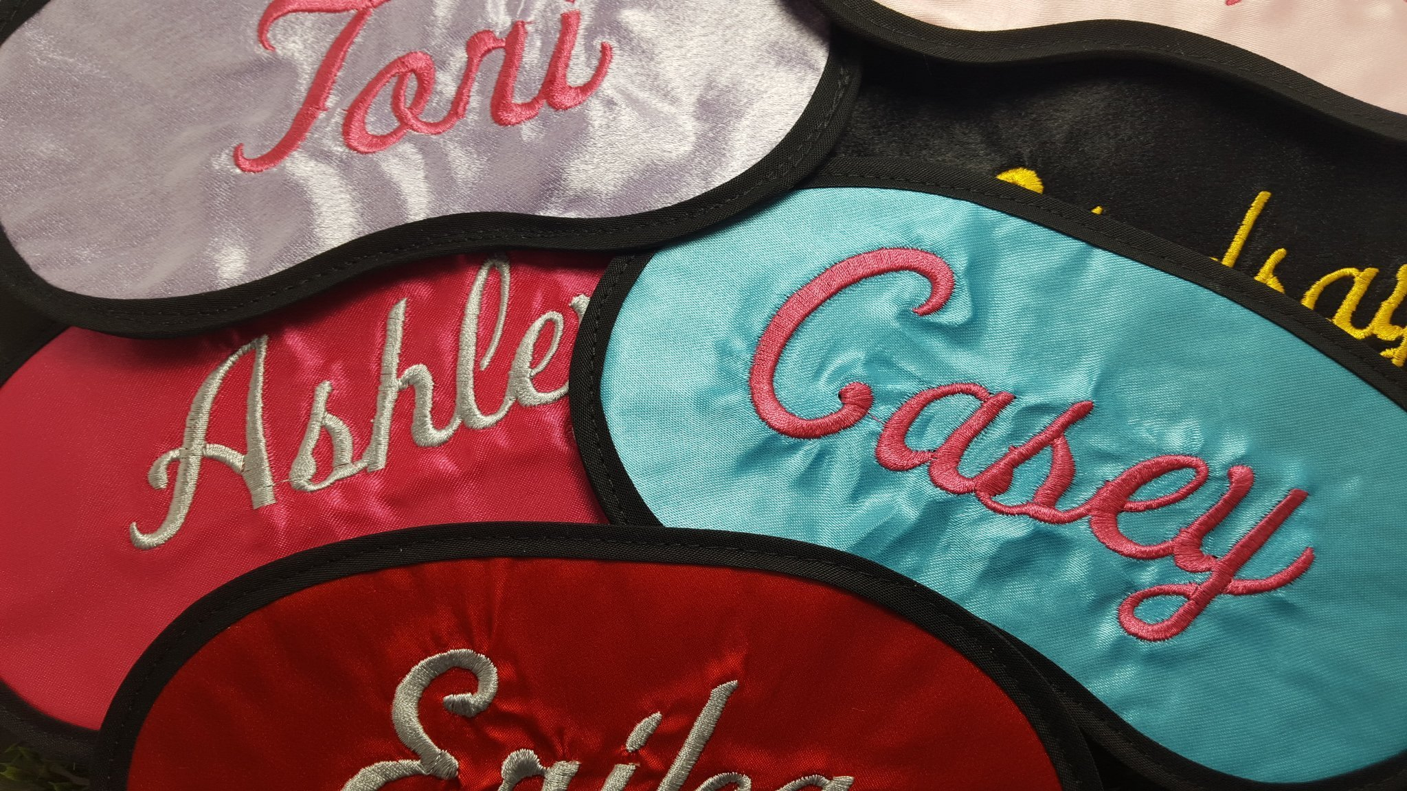 30 Custom Made Silky Satin Eye Masks with FREE name or saying embroidered on them by Artwork by Kevin