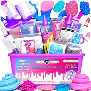 KiddosLand Unicorn Slime Kit for Girls Boys Unicorn Gifts for Kids Party Featival Inclusive Slime Making Kit with Unicorn Galaxy Slime,Headband,Tattoos,Putty Squeezer and More Stuff for Unicorn Lovers