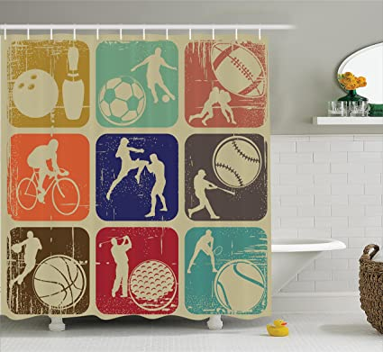 Ambesonne Sports Decor Shower Curtain Set Assorted Banners In Vintage Grunge Effect Tennis Soccer