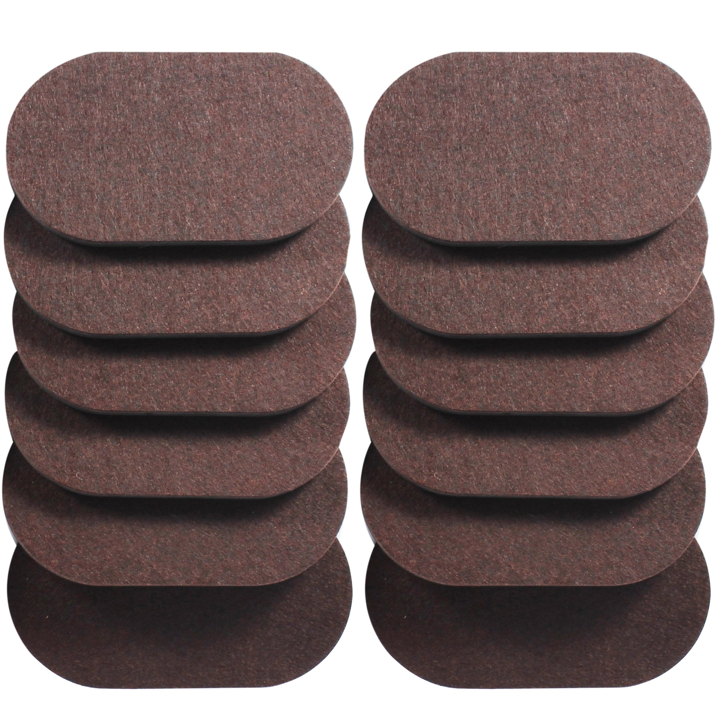 Liyic 12 Pack 6in. X 3.5in.Reusable Brown Oval Felt Furniture Sliders for Hard Surfaces.Premium Heavy Furniture Movers for Wooden Floor,Furniture Felt Slider Heavy Duty Felt Sliders Hard Floor Slider by Liyic (Image #1)