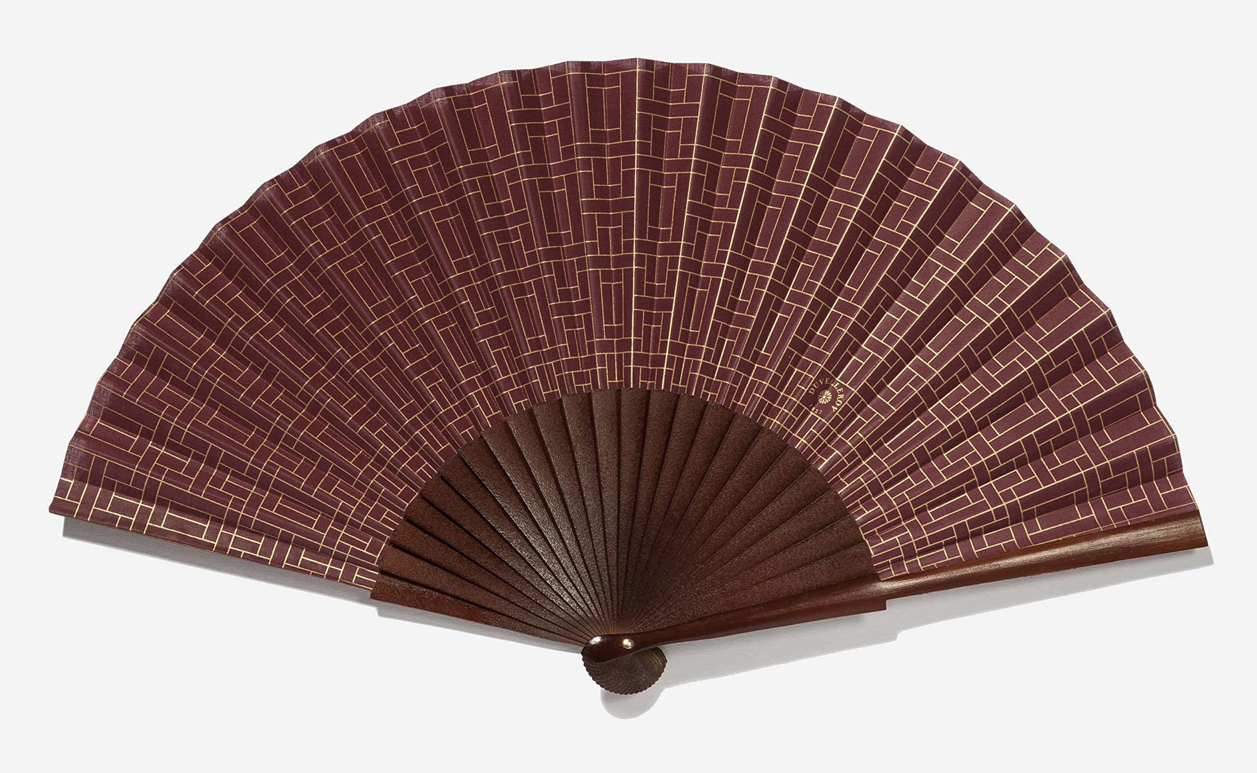 La Perfection Louis Mitsouko Burgundy Bordeaux Hand Fan by DUVELLEROY Paris 1827 Made in France by La Perfection Louis