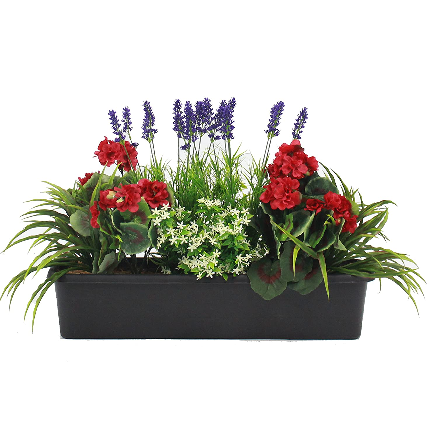 Artificial Mixed Flower Window Box Trough Container with Yucca, Geraniums, Starflower and Lavender - Outdoor and Indoor Use - Colourful and Realistic (Red) Blooming Artificial