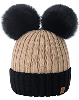 bb9eb1155618da 4sold Miki Colour Womens Girls Winter Hat Wool Knitted Beanie with Double  Pom Pom Cap Ski…