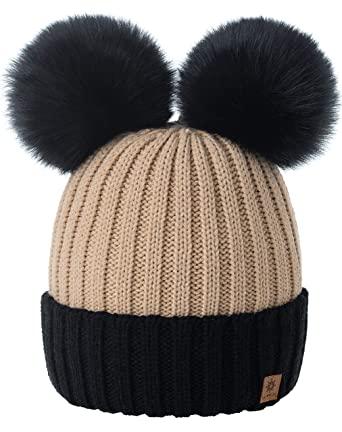 53cfde094c2 4sold Miki Colour Beige Black Womens Girls Winter Hat Wool Knitted Beanie  with Double Pom Pom Cap Ski Snowboard Bobble  Amazon.co.uk  Clothing