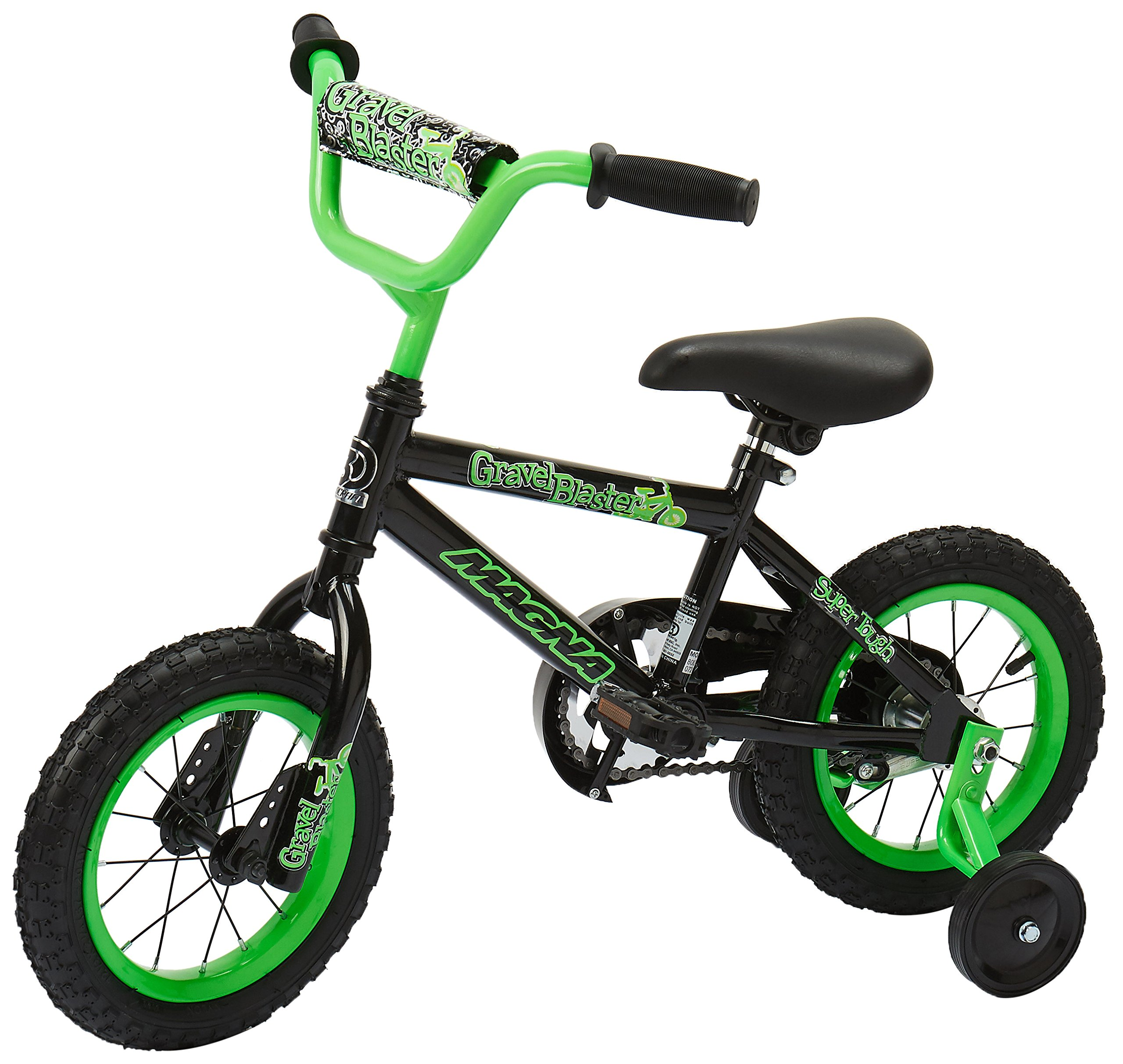 Dynacraft Magna Gravel Blaster Boys BMX Street/Dirt Bike 12'', Black/Green