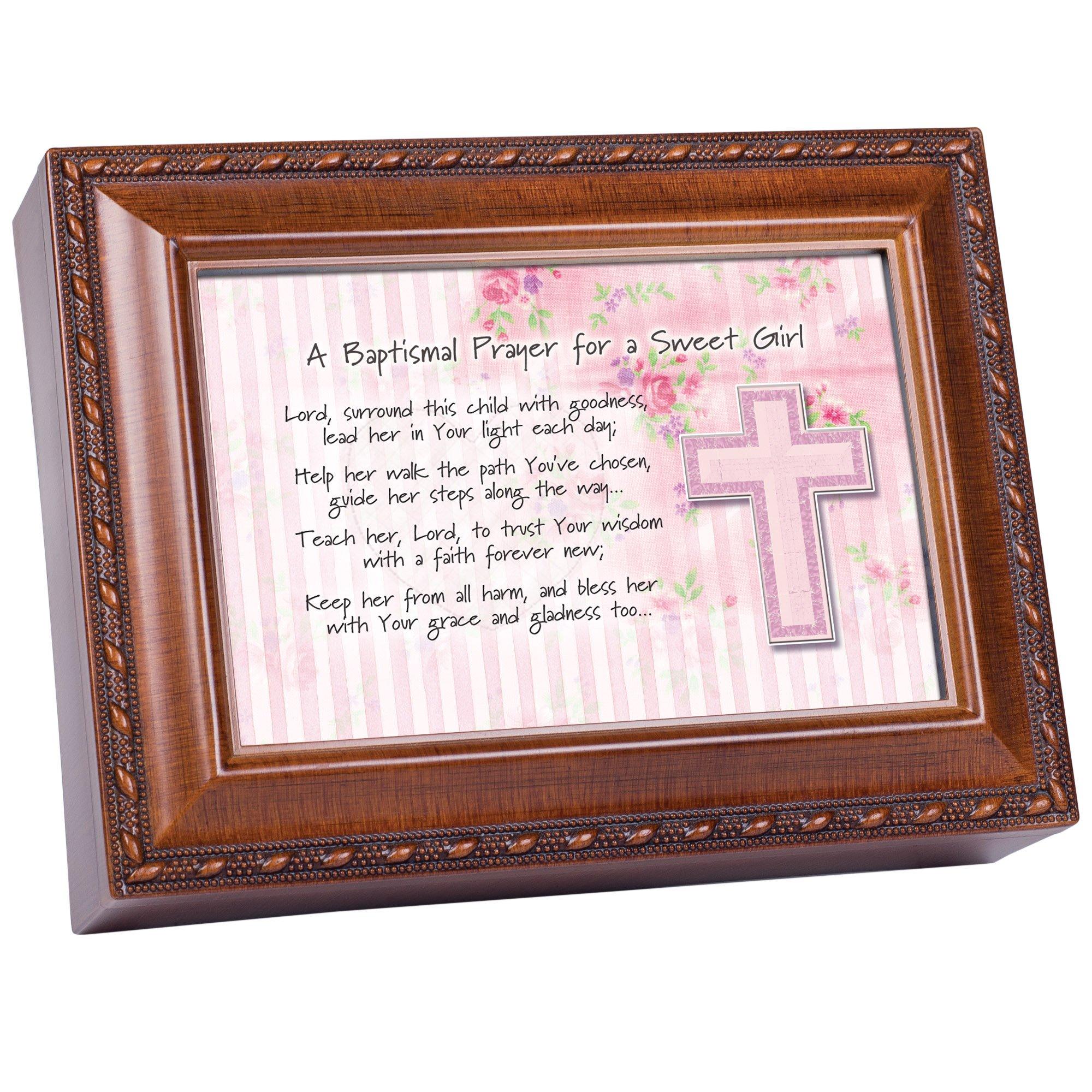 Cottage Garden Baptismal Prayer Lead Her Woodgrain Rope Trim Jewelry Music Box Plays Jesus Loves Me