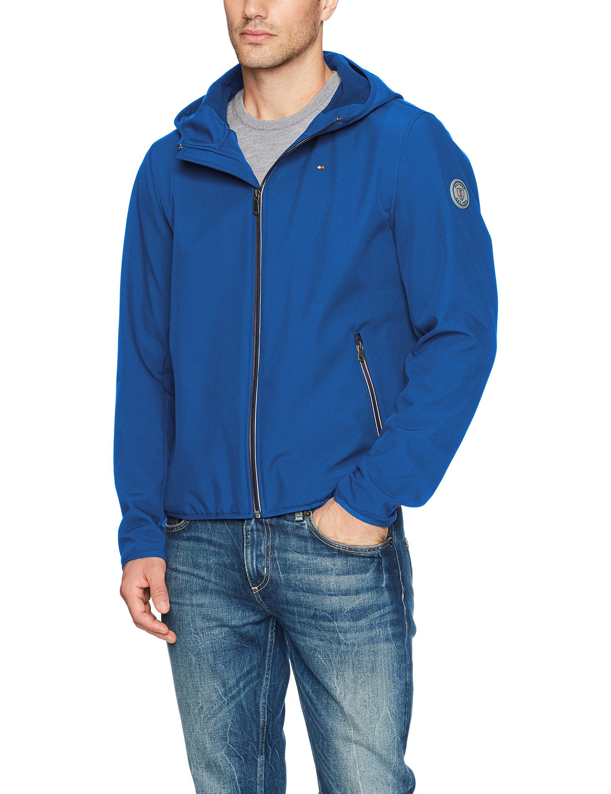 Tommy Hilfiger Men's Hooded Performance Soft Shell Jacket, royal blue, Large by Tommy Hilfiger