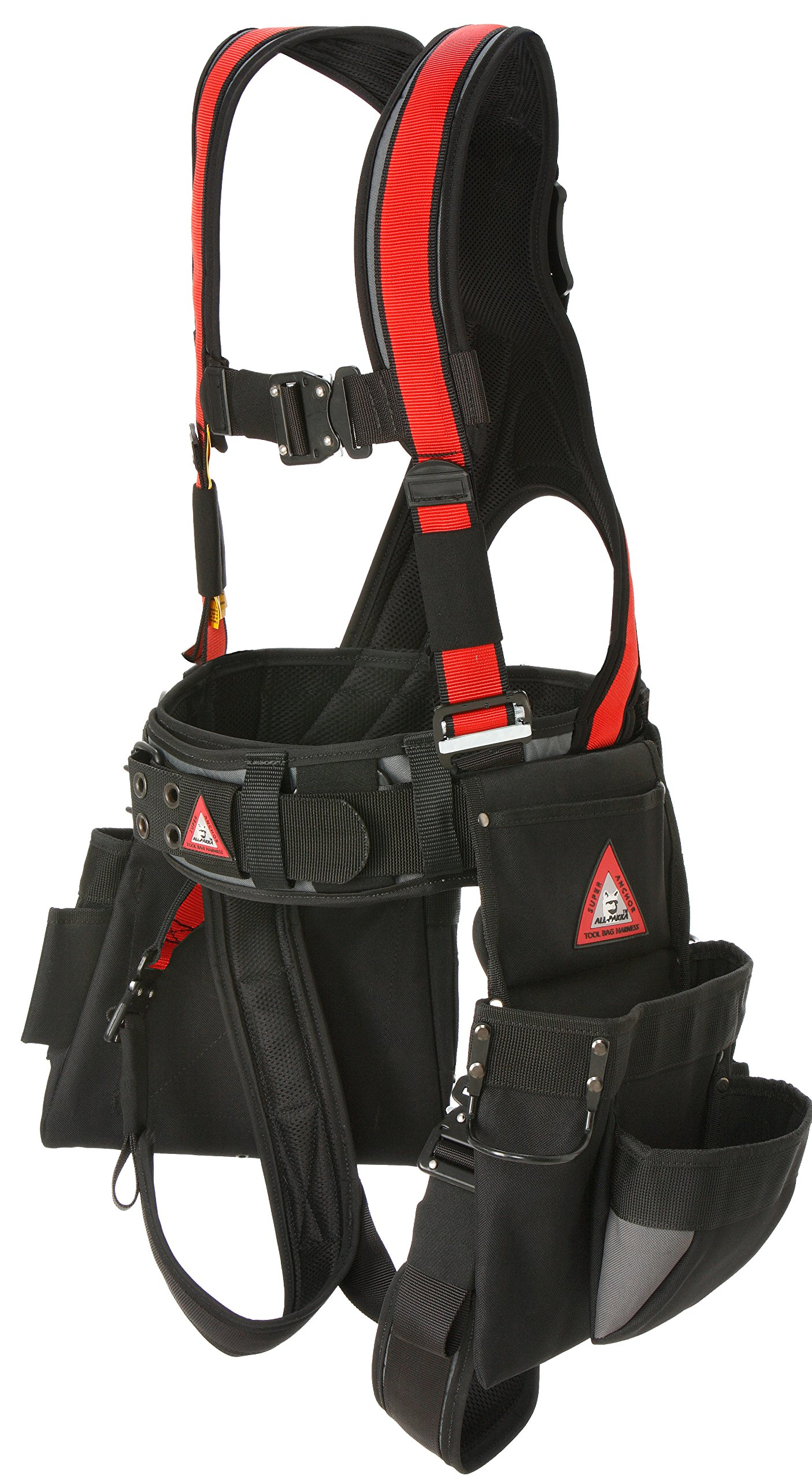 Super Anchor Safety 6151-RL Deluxe Full Body Harness plus All-Pakka Tool Bag Combo, Large, Red