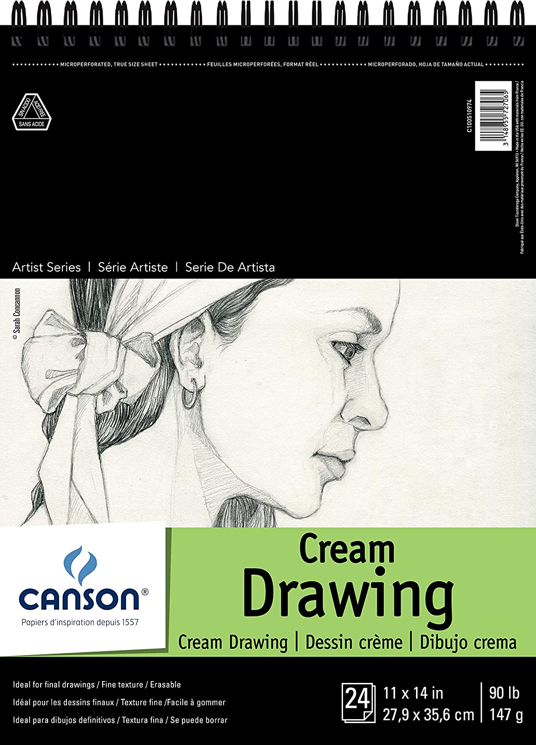 "Canson Artist Series Cream Drawing Pad 11"" x 14"", Top Wire Bound, 24 Sheets (100510974)"