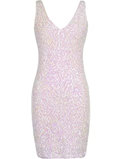 223c7af1c64 PrettyGuide Women s Sexy Deep V Neck Sequin Glitter Bodycon Stretchy Mini  Party Dress