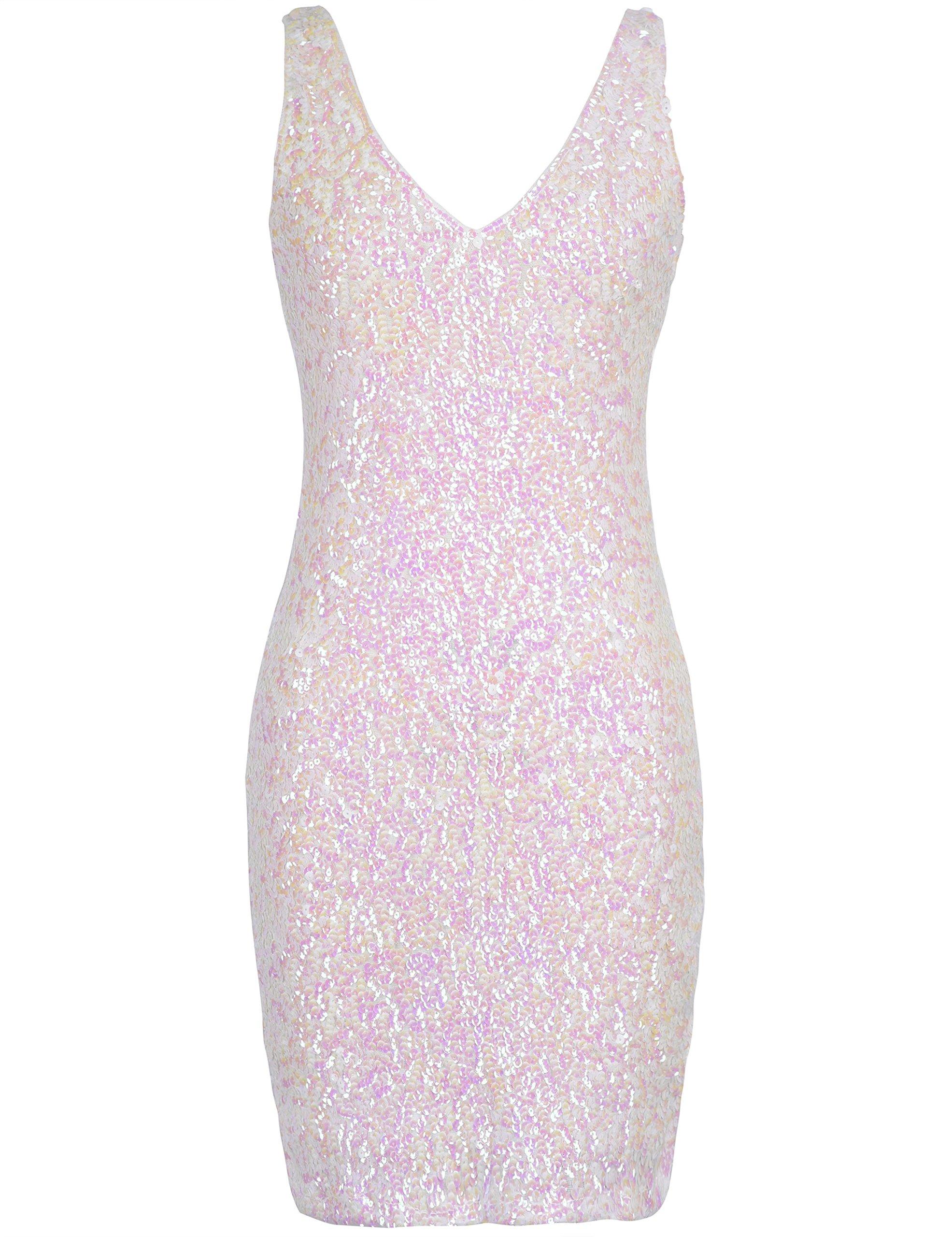 PrettyGuide Women Sexy Deep V Neck Sequin Glitter Bodycon Stretchy Mini  Party Dress (White) 44ec879a2