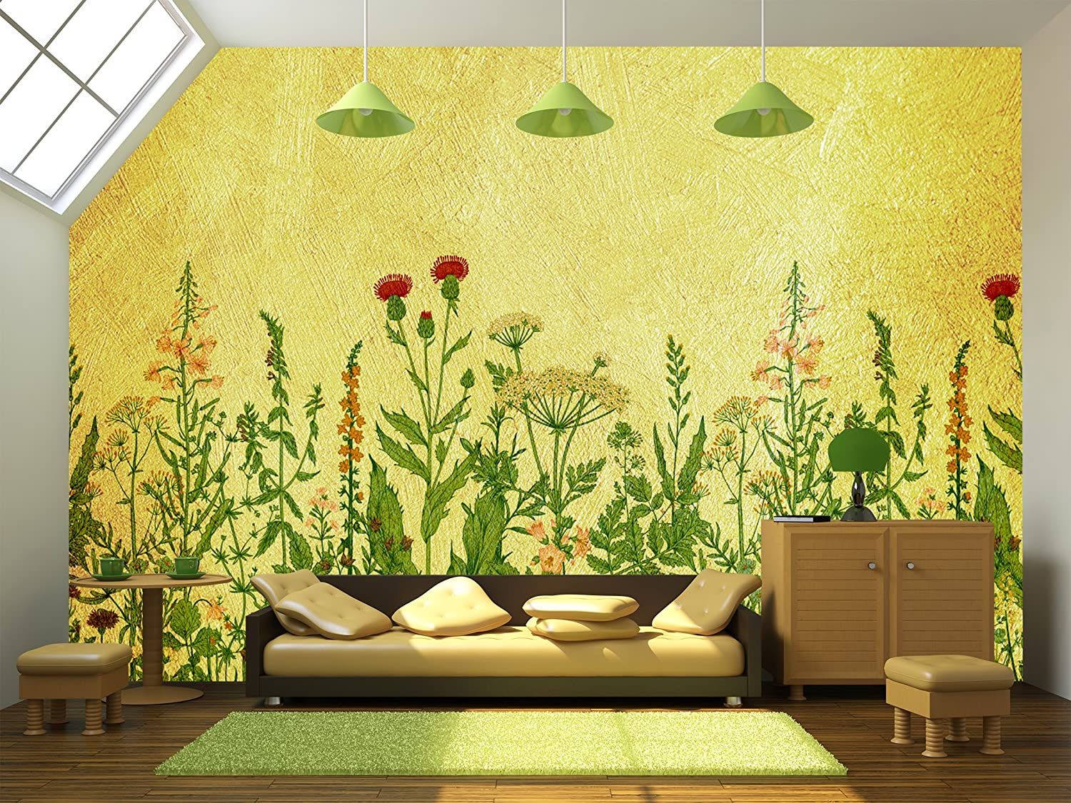 Large Wall Mural Various Flowers on Yellow Textured Background Vinyl ...