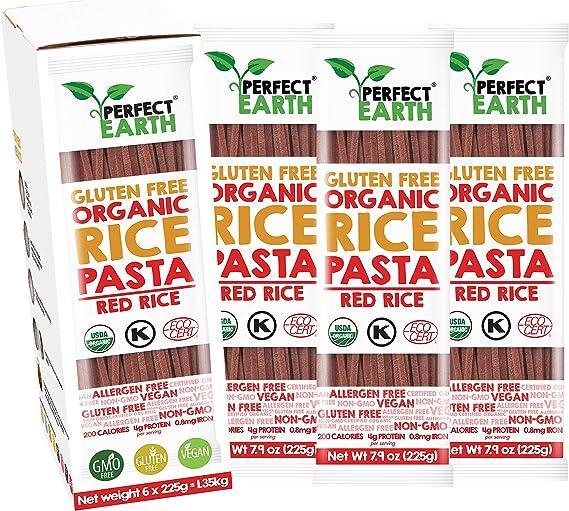 Pasta De Arroz Orgánica | Fideos | Sin gluten | Apto vegano y celiaco | Paquete de 6 (Rojo)