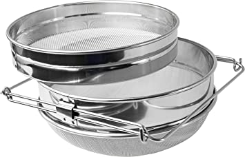 Double Honey Sieve Filter Beekeeping Strainer Apiary Equip Stainless Steel ZB