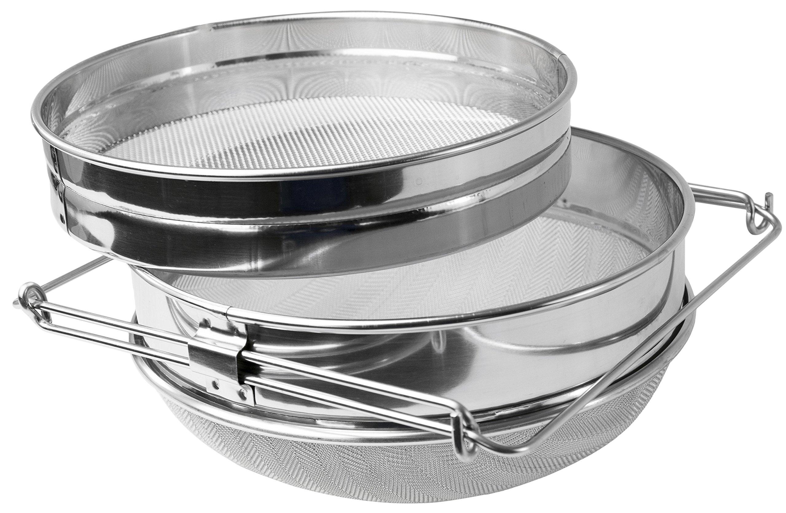 VIVO Honey Strainer Double Sieve Stainless Steel Beekeeping Equipment Filter (BEE-V101H)