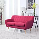 Mid-Century Modern Linen Fabric Sofa, Loveseat in Colors Light Grey, Polo Blue, Sky blue, Yellow and Red (Red, 2 Seater)