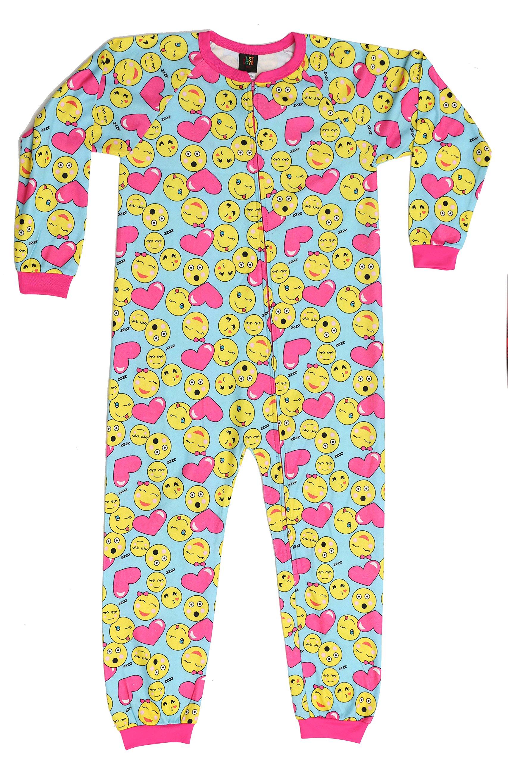 95613-41-14-16 Just Love Printed Flannel Blanket Sleepers Heart Emoji Girls' 14-16