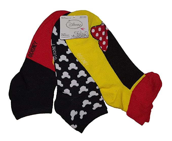 Disney Minnie & Mickey Mouse 3 Pairs Low Rise Socks
