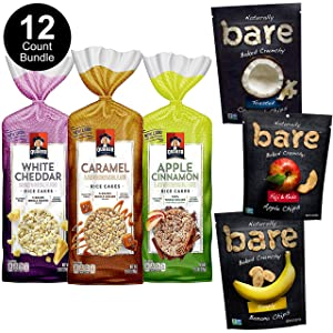 Bare Baked Crunchy Apple Chips, Banana Chips, and Coconut Chips, Variety Pack, Gluten Free, 6 Count and Quaker Large Rice Cakes, Gluten Free, 3 Flavor Variety Pack, 6 Count