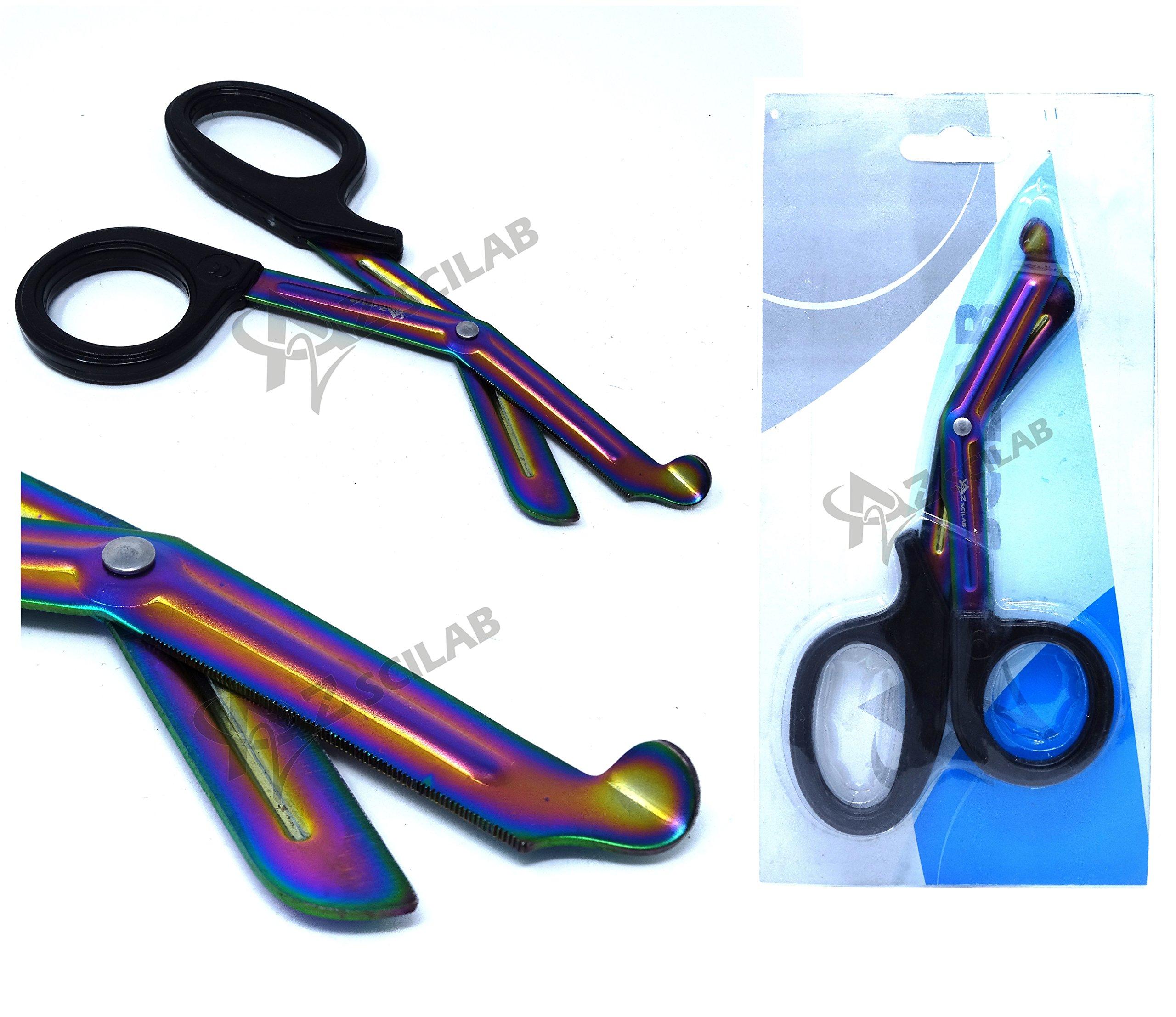 Heavy Duty Fluoride Coated Nurse Doctor Medical Paramedic Trauma Shears Scissors 7.25'' (A2ZSCILAB) (BLACK MULTI COLOR BLADE)