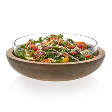 Prologue Handcrafted Nesting Wood and Glass Serving Bowls