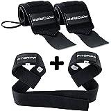 Handgelenkbandagen + Zughilfen (2Paar/4Stück) von FITGRIFF - Premium Fitness Set für Kraftsport, Bodybuilding und Krafttraining - für Frauen und Männer - 2 Jahre Gewährleistung