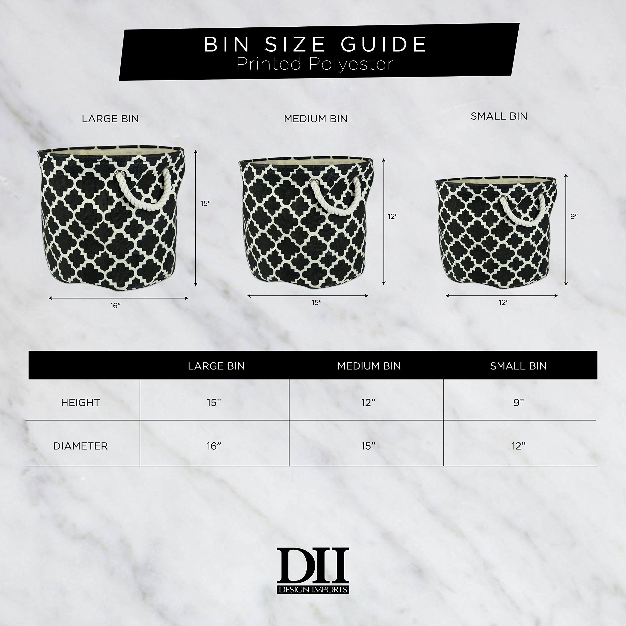"""DII Collapsible Burlap Storage Basket or Bin with Durable Cotton Handles, Home Organizational Solution for Office, Bedroom, Closet, Toys, Laundry (Large Round – 16x15""""), Grey Border by DII (Image #5)"""