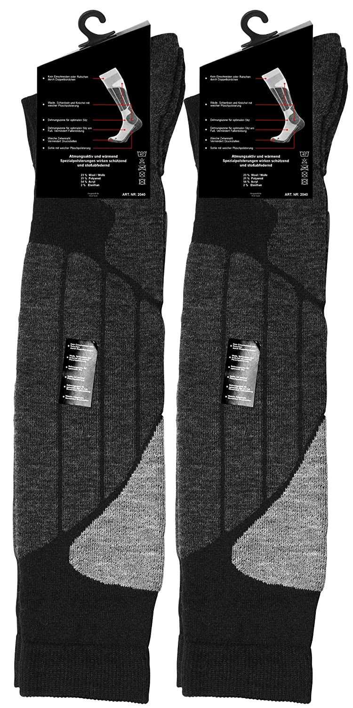 2 Paar SKI und SNOWBOARD Socken knie lang, Unisex, mit Spezial Polsterung