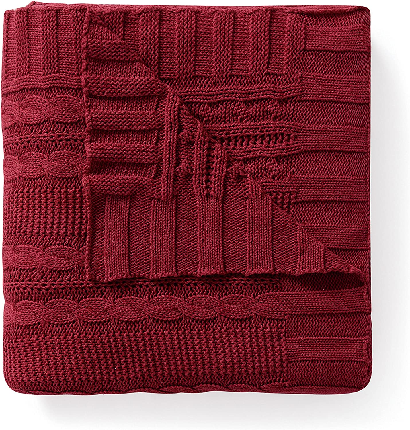 VCNY Home DUI-THR-5070-BB-RD Dublin Cable Knit Throw, 50x70, Red