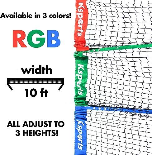 Ksports Tennis Net Bundle Comprising of One Blue 10ft Multisports Net 4 LED Birdies Shuttlecocks One Carry Bag