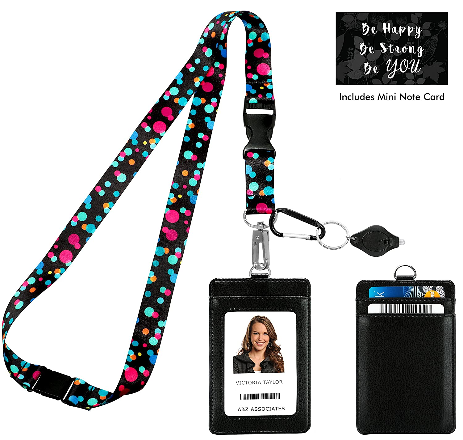 Bubbly Color Dots Print Lanyard with PU Leather ID Badge Holder Wallet with 2 Card Pockets, Safety Breakaway Clip, Note Card. Gift of Carabiner Keychain Flashlight. Lanyard for Cruise or Work One In A Millionaire